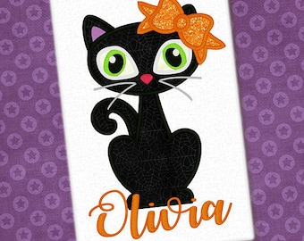 Personalized Halloween Girly Kitty Cat with Bow or Witch Hat or Boy Cat with Bowtie Applique Shirt or Bodysuit for Boy or Girl