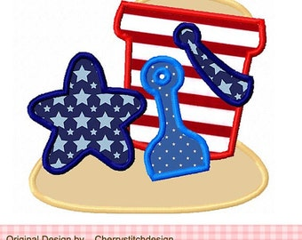 Personalized 4th of July Patriotic Sand Bucket Star Shovel Applique Shirt or Bodysuit Girl Boy
