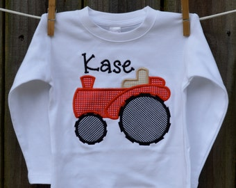 Personalized Tractor Applique Shirt or Bodysuit for Boy or Girl