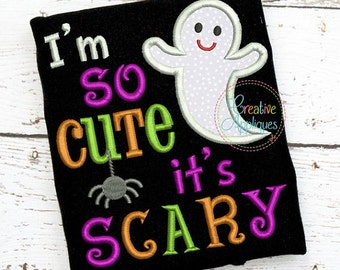 Personalized Halloween Ghost I'm So Cute It's Scary Applique Shirt or Bodysuit for Boy or Girl