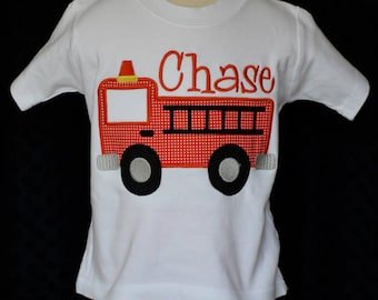 Personalized FireTruck Applique Shirt or Bodysuit Boy or Girl