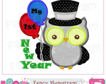My First 1st New Year Owl 2018 Applique Shirt or Bodysuit Boy or Girl