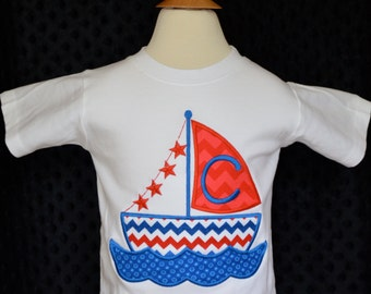 Personalized Sailboat Applique Shirt or Bodysuit Boy or Girl