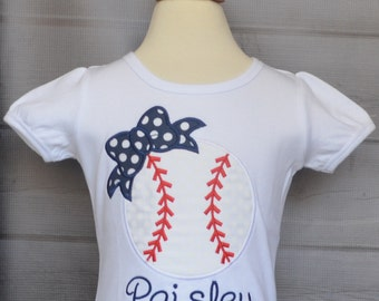 Personalized Baseball with Bow Applique Shirt or Bodysuit Girl