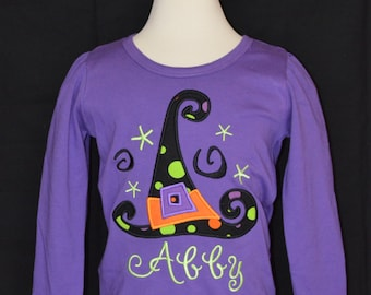 Personalized Halloween Witch's Hat Applique Shirt or Bodysuit for Boy or Girl