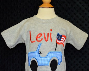 Personalized 4th of July Patriotic Star Flag Truck Jeep Applique Shirt or Bodysuit Girl Boy