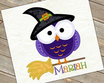 Personalized Halloween Girly Owl with Witch Hat on a Broom Applique Shirt or Bodysuit for Boy or Girl