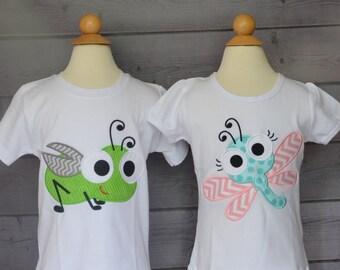 Personalized Big Eyed Bug Applique Shirt or Bodysuit Boy or Girl