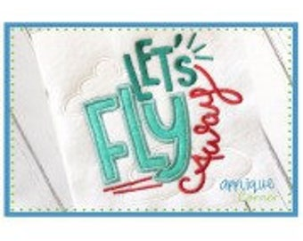 Personalized Let's Fly Away Airplane Applique Shirt or Bodysuit Girl or Boy