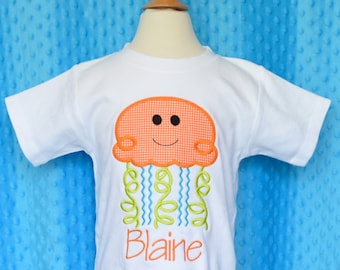 Personalized Jelly Fish Applique Shirt or Bodysuit Boy or Girl