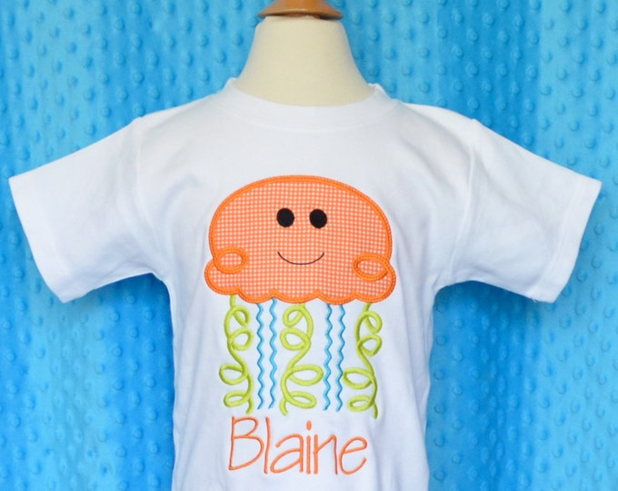 Featured listing image: Personalized Jelly Fish Applique Shirt or Bodysuit Boy or Girl