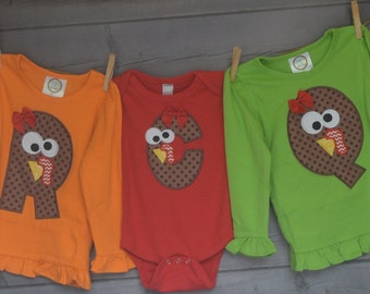 Personalized Turkey Initial Applique Shirt or Bodysuit for Boy or Girl