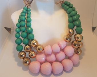 Vintage Necklace Plastic Beaded Pink Green Gold Chunky