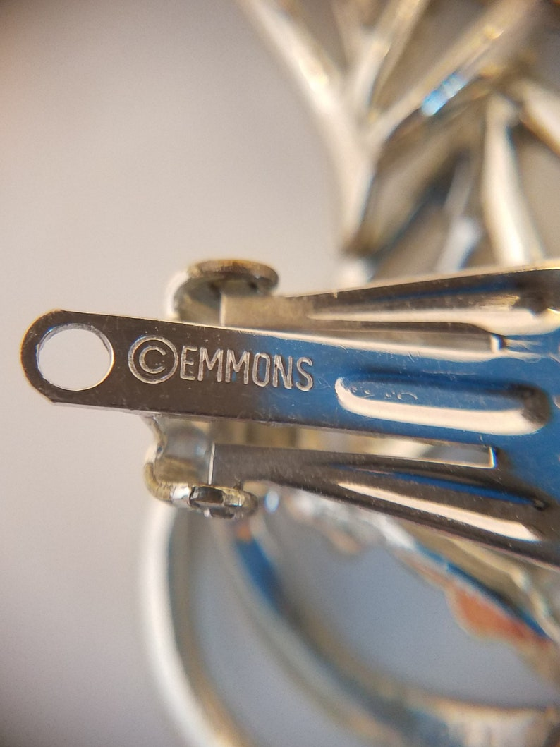 Vintage Shoe Clips Ladies Emmons Signed Swirl Silver Tone 60/'s