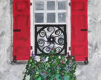 24x30 Charleston Window with Red Shutters and Teal Flower Box/Acrylic Painting