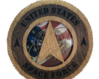 Space Force Laser Cut Military Wall Plaque with American Flag - Personalize It!