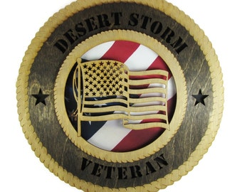 Desert Storm Veteran Military Wall Plaque with American Flag - Personalize It!