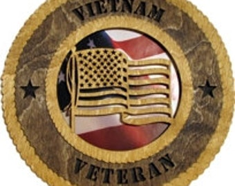 Vietnam Veteran Military Wall Plaque with American Flag - Personalize It!