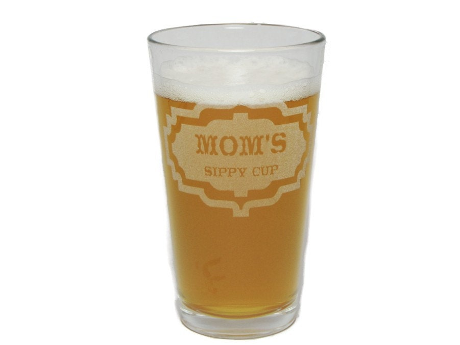 Laser Engraved Pint Glasses//Beer Glasses Orange Kat Moms and Dads Sippy Cups Gift Set with 16oz