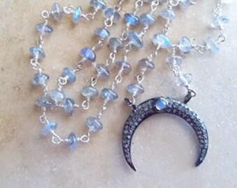 Diamond Crescent Moon Pendant Necklace Moonstone Labradorite Black Spinel Gemstone Chain Celestial Boho Goddess Fine Jewelry Life Bijou