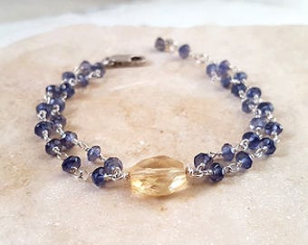 Iolite Citrine Sterling Silver Multi Strand Stacking Bracelet Modern Elegant Layering Chain Blue and Gold Fine Jewelry by Life Bijou