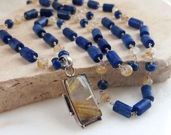 Long Gemstone Layering Necklace Lapis Lazuli Rutilated Quartz Sterling Silver Vintage Pendant Bold Statement Wrap Bracelet Mala Life Bijou