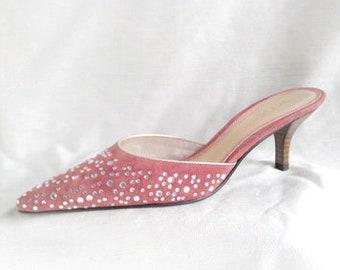 Vintage Unisa Rose Suede & Crystal Rhinestone Mule Low Kitten Heel Embellished Slide Evening Shoes Size 6.5