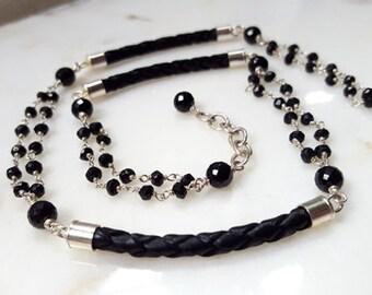 Black Spinel Sterling Silver Modern Black Leather Multi Strand Gemstone Collar Necklace Edgy Minimalist High End Fine Jewelry Life Bijou