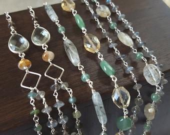 Long Multi Strand Gemstone Necklace and 3 Gemstone Stacking Bracelet Set Earthy Organic Boho Layering High End Fine Jewelry Life Bijou