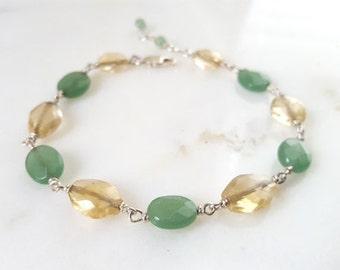 Stacking Bracelet, Multi Gemstone Station Chain, Yellow Citrine, Green Aventurine, Sterling Silver, Handmade Boho Fine Jewelry Life Bijou