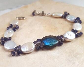 Labradorite Baroque Pearl Iolite Sterling Silver Line Bracelet, Multi Gemstone Boho Stacking Statement Chain Fine Jewelry Life Bijou