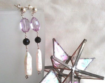 Modern Gemstone Earrings Rose de France Pink Amethyst Black Spinel White Biwa Pearl Elegant Minimalist High End Fine Jewelry Life BIjou