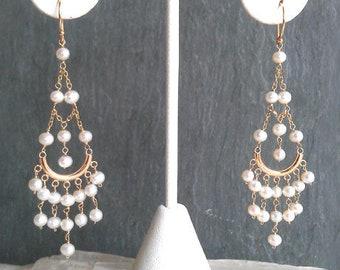 14K Solid Yellow Gold Pearl Chandelier Earrings, Gemstone Statement Dangles, Boho Wedding Earrings High End Fine Jewelry Life Bijou