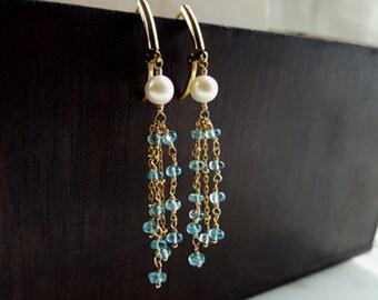 Tassel Earrings Pearl and Apatite Dangle Fringe Earrings Boho Bride Aqua Blue Gemstone Chain Earrings, High End Fine Jewelry Life Bijou