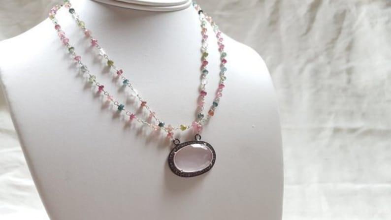 Multi Strand Sterling Silver Gemstone Station Chain Necklace with Tourmaline Rose Quartz Diamond Pendant High Fine Jewelry by Life Bijou