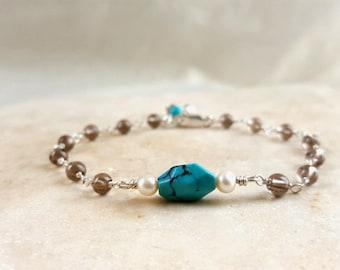 Sterling Silver Gemstone Stacking Bracelet Multi Gemstone Chocolate Brown Smokey Quartz Turquoise Pearl Boho Chain Handmade Life Bijou