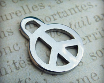 Peace Sign Charm, Stainless Steel Jewelry Pendant, Set of 5 SST Findings 14x19x1.50mm (001)