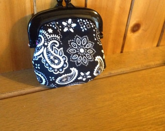 Jelly purse black / white paisley with Free Shipping