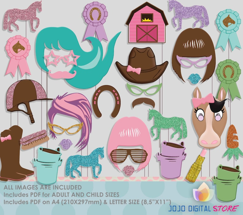 Equestrian Girl Party Photo Booth Props Pony Horse Riding image 0