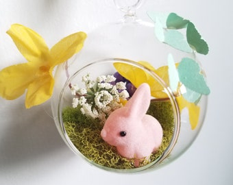 Ornament Easter Eggs Basket Bunny Chicken Spring Holiday Romantic Pastel Moss Magic Butterfly Flowers Diorama