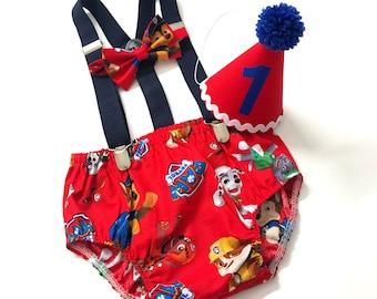 Free Shipping to US and PR,Paw Patrol Birthday,Paw Patrol Cake Smash,Unisex,Birthday Girl,Birthday Boy,Bloomer Cotton,Outfit birthday