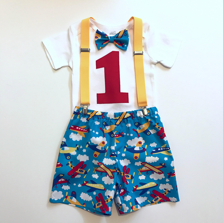 Baby Boy 1st Birthday Cake Smash Prop Blue Monkey Outfit Handmade