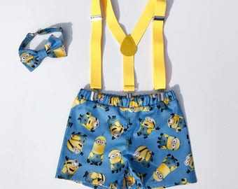 Minion boy birthday outfit, Minion bowtie and suspenders, Minion boy outfit, toddler boy outfit, cake smash boy outfit, boy birthday shorts,