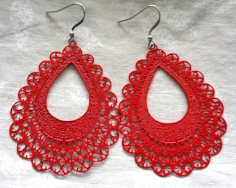 Red Filligree earrings, hypo allergenic, large earrings, lead free, nickel free