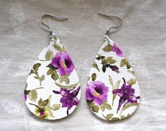 Sale: flower Leather earrings, purple Flower earrings, hypo allergenic, lightweight earrings