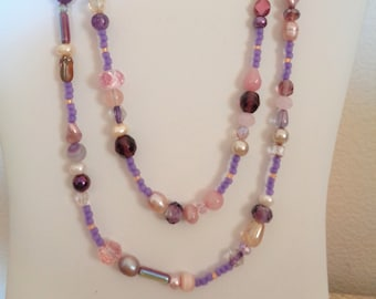 Purple necklace, pink necklace, pearl necklace, multi stone necklace, long necklace, two strand necklace, fresh water pearl necklace,