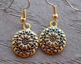Gold drop earrings, small gold earrings, hypo allergenic, pretty small gold earrings