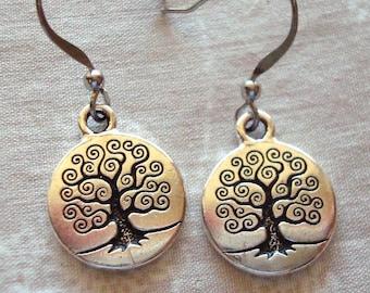 Tree of life earrings, silver tree, silver earrings, hypo allergenic, lead free earrings, nickel free