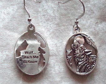 Silver wolf earrings, nickel free and lead free earrings hypo allergenic, silver earrings