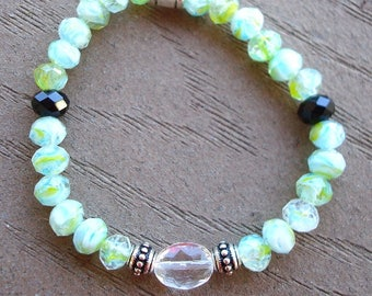 SALE: Green bracelet, green jewelry, happy face charm, stretchy bracelet, green and white